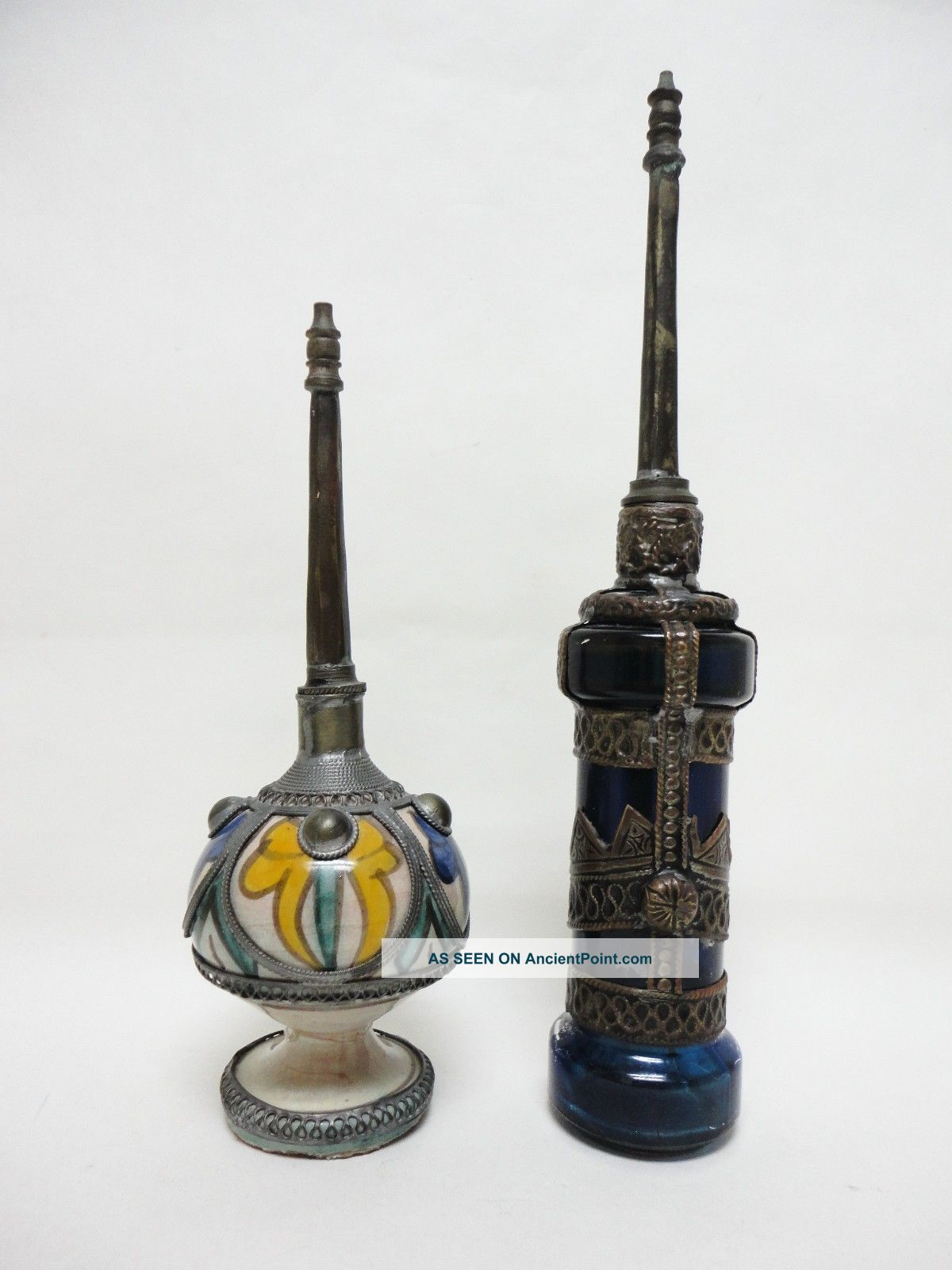 2 Rose Water Perfume Bottle Sprinklers (mid Century Moroccan Or Middle Eastern) Islamic photo