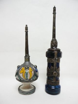 2 Rose Water Perfume Bottle Sprinklers (mid Century Moroccan Or Middle Eastern) photo