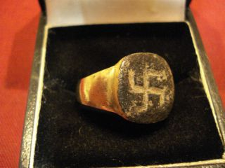 Ancient Roman ' Swastika ' Ring - - Detector Find photo