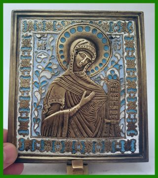 Russia Orthodox Bronze Icon The Virgin From Deesis.  Enamel photo