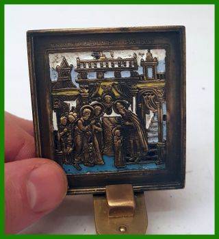Russia Orthodox Bronze Icon The Presentation Of The Virgin To The Temple.  Enamel photo