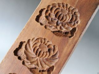 Antique Japanese Kashigata Wooden Hand Carved Cake Mold Kiku Flower Mum W/ Cover photo