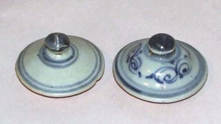 Antique Chinese Ming Blue & White Pottery Lids Underglaze Blue Porcelain 2.  5