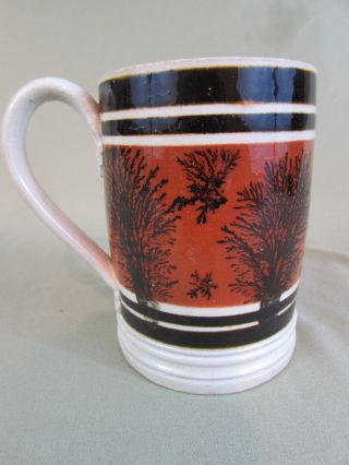 Antique 1 Pint Brown Banded Mochaware Mug Seaweed Mug Tankard 19c photo