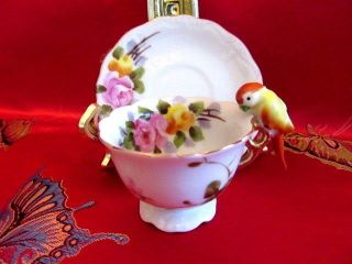 Unique Kt Japan Mini Parrot Bird Handle Hand Painted Footed Tea Cup And Saucer photo