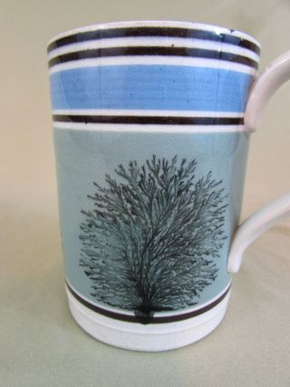 Antique Blue Banded Mochaware Mug Seaweed Mug Tankard 19c 1 Pint photo