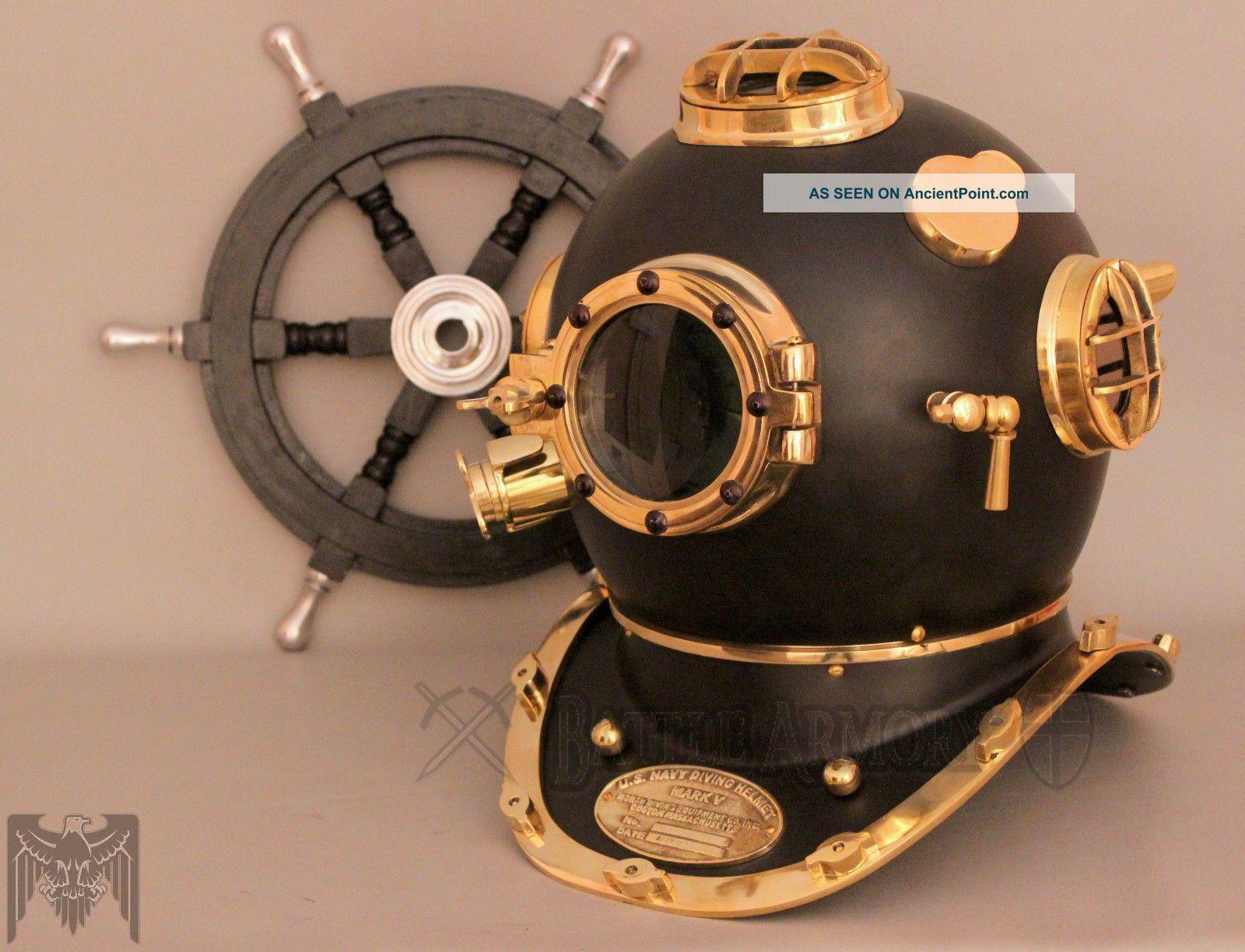 Antique Vintage U.  S Navy Mark V Model Diving Divers Helmet Full Brass 18 Inch Diving Helmets photo