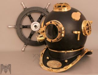 Antique Vintage U.  S Navy Mark V Model Diving Divers Helmet Full Brass 18 Inch photo