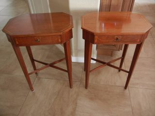 2x1940s Octagon End Table/night Stand Inlaid Top,  Ribbon Bow Tassels Front Drawer photo