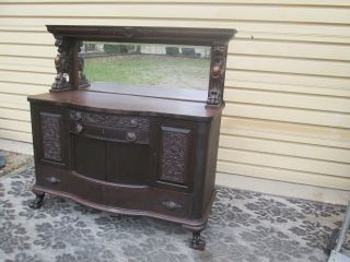 57414 Anitque Victorian Buffet Sideboard Server W/ Gryphons Reaser Furniture photo