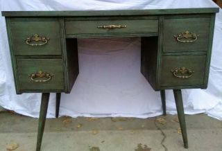 Mid Century Writing Desk 5 Drawer Green Danish Painted Distressed photo