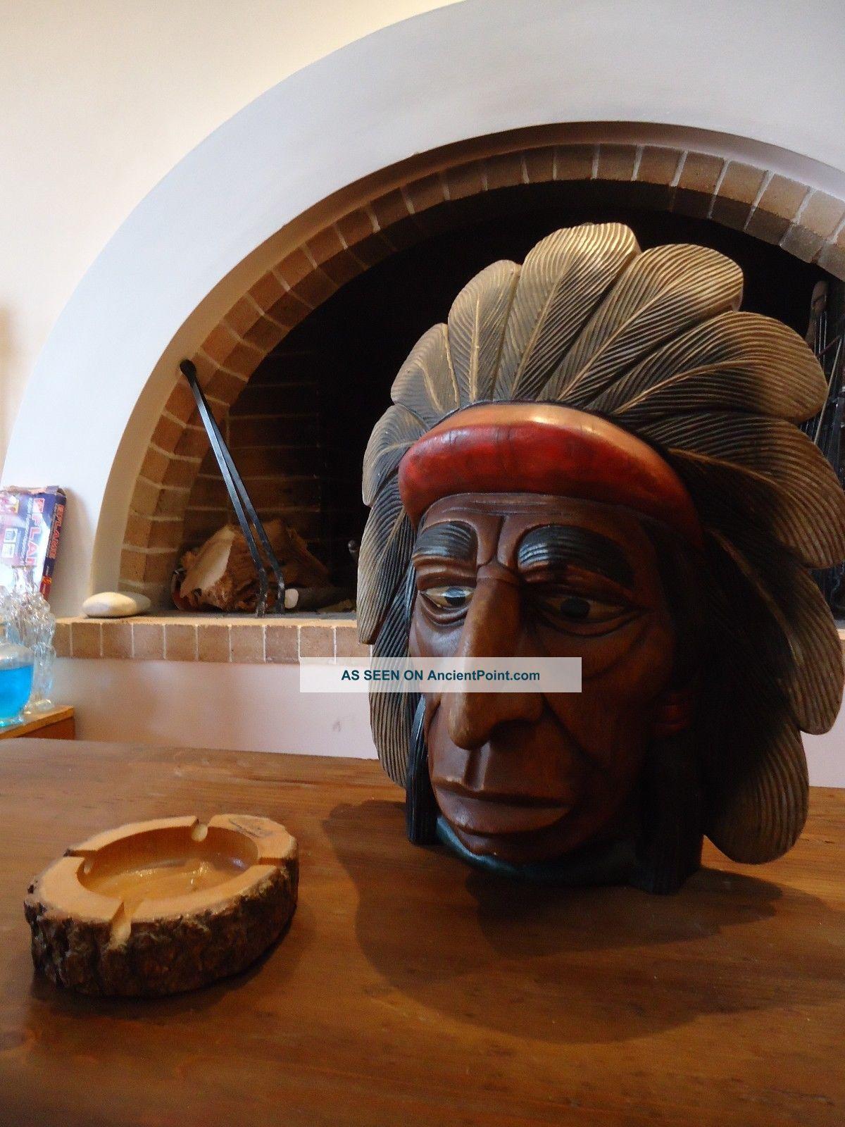 Vintage Native American Wooden Sculpture Navajo Handmade Solid Wood Native American photo