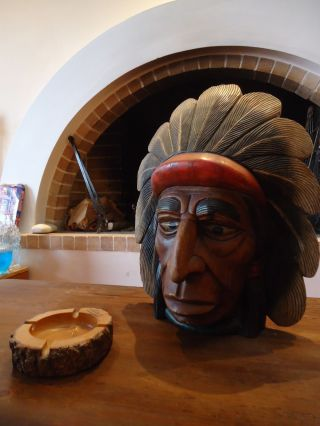 Vintage Native American Wooden Sculpture Navajo Handmade Solid Wood photo