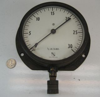Large Antique Cast Iron Gauge Boiler Steam Ashcroft Steampunk Vg photo