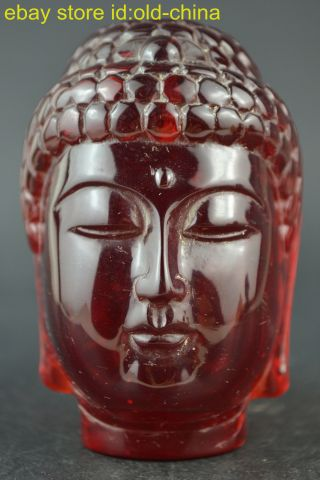 China Collectible Decorate Handwork Old Amber Carve Buddha Head Devout Statue photo
