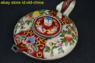 China Vintage Collectible Old Cloisonne Painting Flower Decor Noble Red Teapot photo