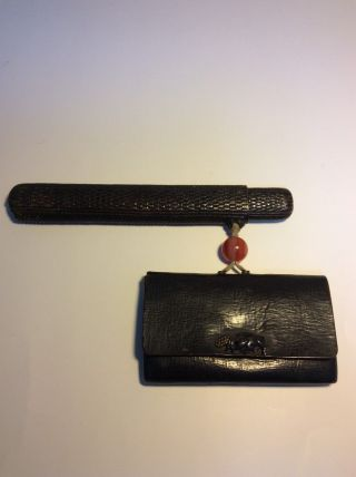 Japanese Meiji Tobacco Pouch And Kiseru Cases photo