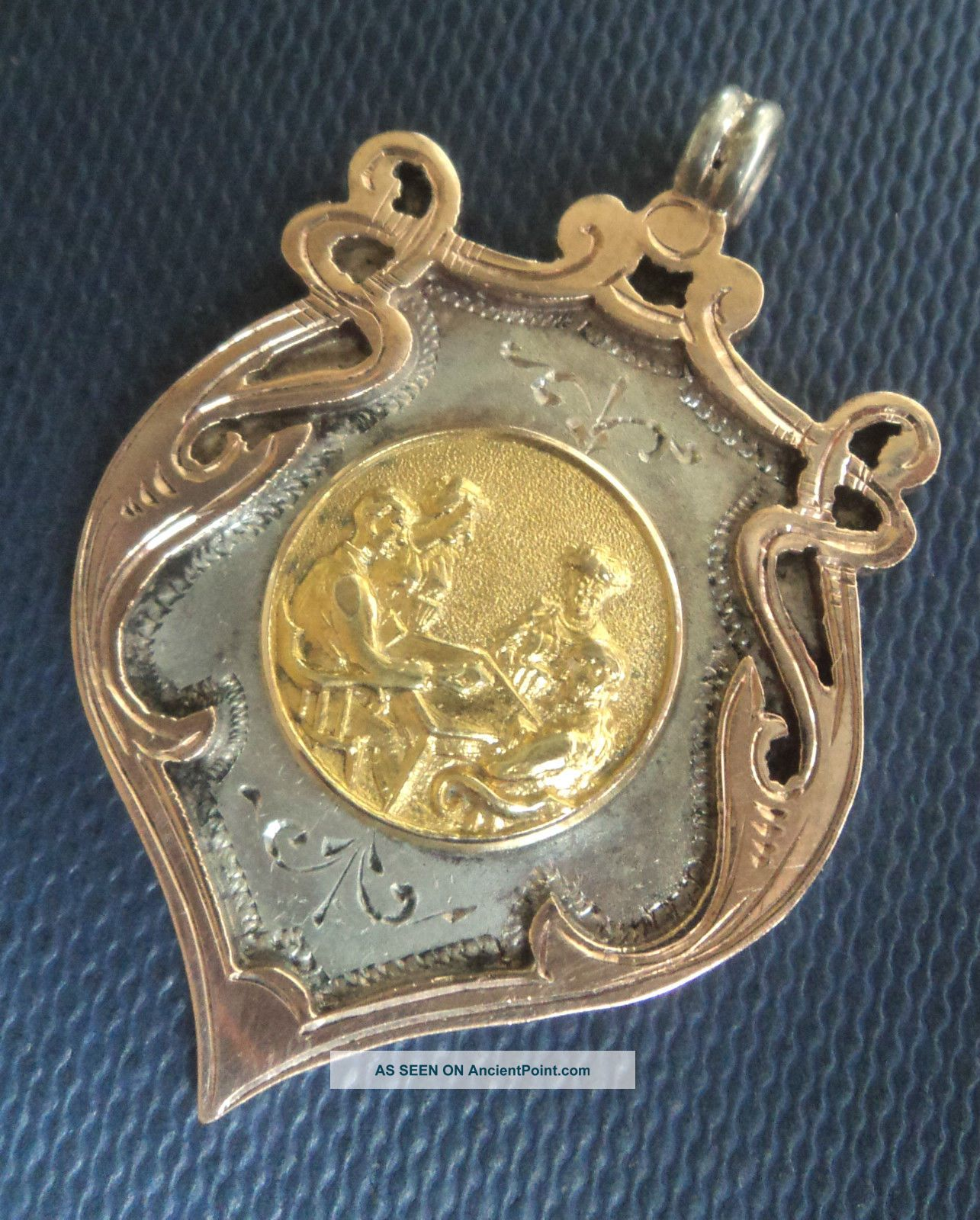 Vintage Stg.  Silver & Gold Fob Medal 1939 Whist / Bridge / Poker / Playing Cards Pocket Watches/Chains/Fobs photo