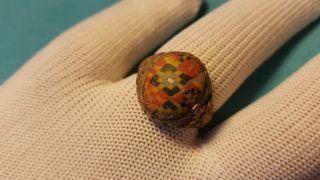 Roman Mosaic Glass Ring With Bronze Bezel photo