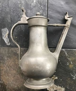 Aged Hallmarked Swiss Pewter Water Or Coffee Decanter Circa 1840 ' S photo