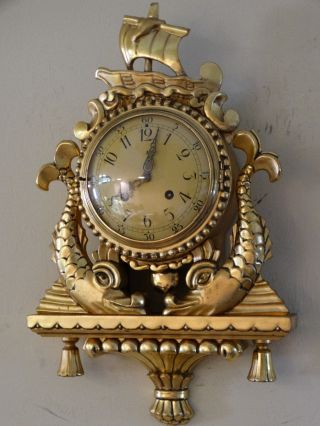 Wood Gilt Carved Half Strike Antique Wall Clock C.  1890 Signed Ws.  U.  T photo