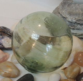 Vintage Japanese Glass Fishing Float Pale Moss Green,  Bubbles,  Striations (47) photo