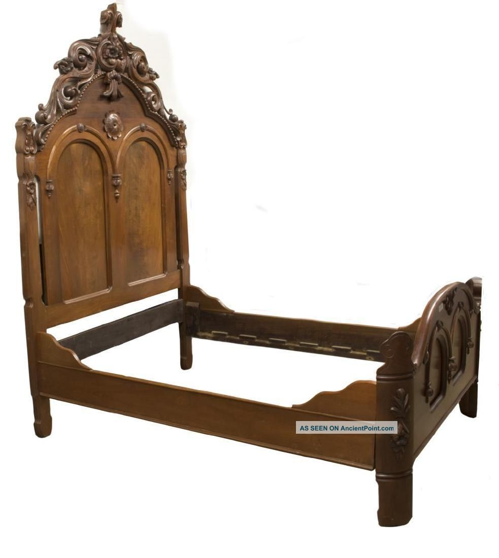 American Renaissance Revival Carved Bed,  19th Century (1800s) Antique 1800-1899 photo