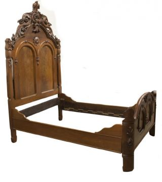 American Renaissance Revival Carved Bed,  19th Century (1800s) Antique photo