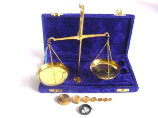 Antique Style 100 Gram Brass Scale With Velvet Box.  Usa Fast Shipper photo