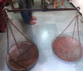 Vtg.  Primitive Hand Balance Chain Hanging Mercantile Scale Indian Taraju Big Pan photo