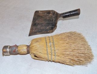 Vintage Small Straw Whisk And Dustpan,  Wood Stove photo