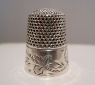 Stern Bros 7 Antique Sterling Silver Engraved Floral Scroll Thimble C.  1900 photo