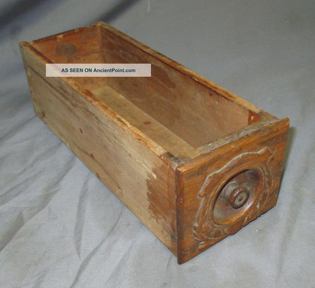 B Antique Ornate Oak Singer Treadle Sewing Machine Cabinet Drawer 1910 ' S Red Eye Furniture photo