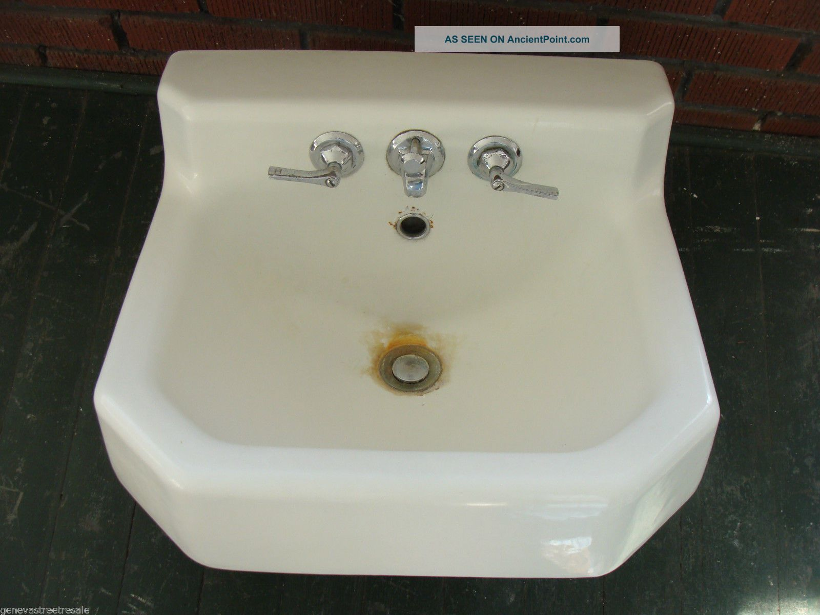 Vintage 1950s Kohler White Cast Iron Porcelain Sink Bathroom Plumbing Sinks photo