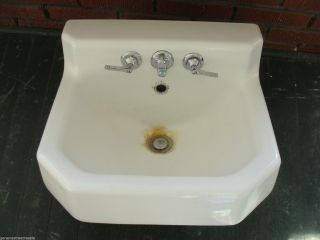 Vintage 1950s Kohler White Cast Iron Porcelain Sink Bathroom Plumbing photo