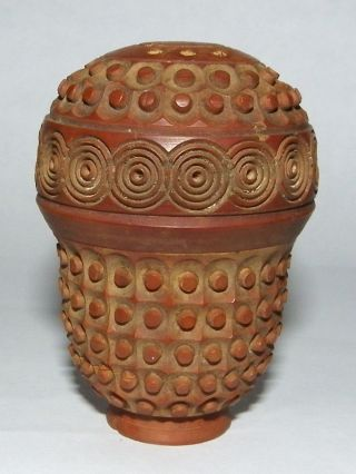 Antique 19th C Carved & Perforated Coquilla Nut Pomander Or Spice Shaker photo