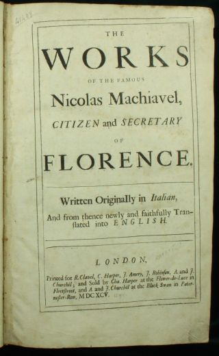 Machiavelli The 1695 English The Prince,  Discourses,  Art Of War Folio Nr photo