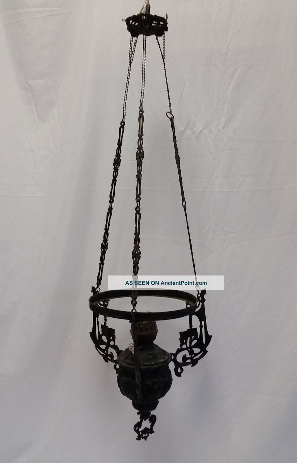 Antique Victorian Cast Iron Hanging Oil Lamp Chandelier Double Wick Glass Font