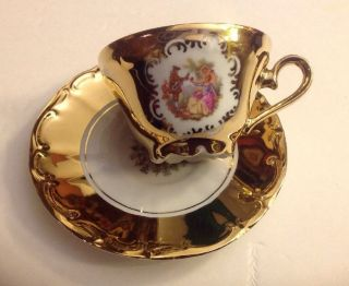 24k Gold Tea Cup & Saucer W/hand Painted Scene From Bavaria Germany Ex - Fs photo