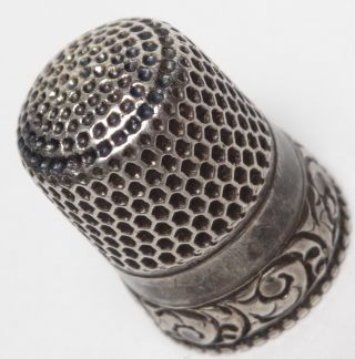 Vintage Sterling Silver Thimble Ornate Scrolling Border Stern Bros photo