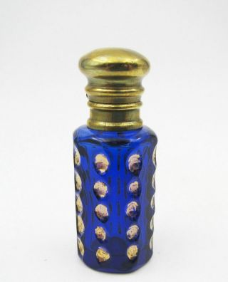 Antique Miniature Cobalt Blue Cut Glass & Brass Perfume Bottle photo