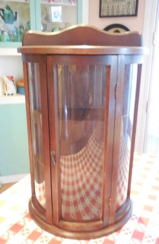 Vintage Wood Curio Wall Display Cabinet W Door & Curved Convex Glass 3 Shelves photo