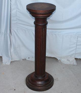 Antique Quarter Sawn Oak Pedestal Stand photo