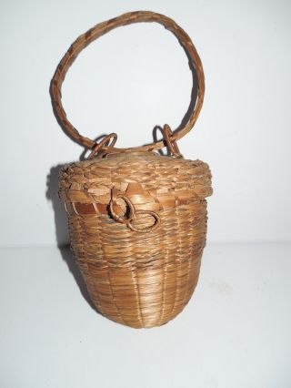 Vintage England / Maine Native American Passamaquoddy Acorn Knitting Basket photo