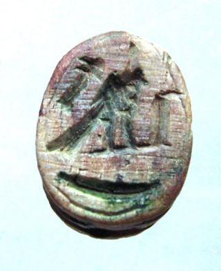 Egyptian Steatite Scarab With Hieroglyphs Of Falcon And Cobra.  Ref.  028. photo