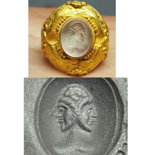 Intaglio Roman Stone Gold Ring 23 Ct Gold 8.  11 Grams photo