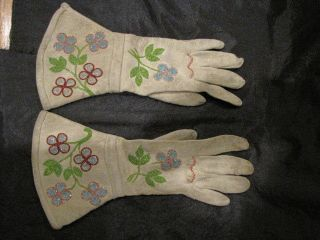 Early 1900 ' S - 20 ' S Yakima Indian Colorful Beaded Leather Western Riding Gloves photo