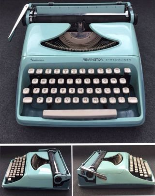 Vintage Remington Sperry Rand Portable Typewriter Green With Case - photo