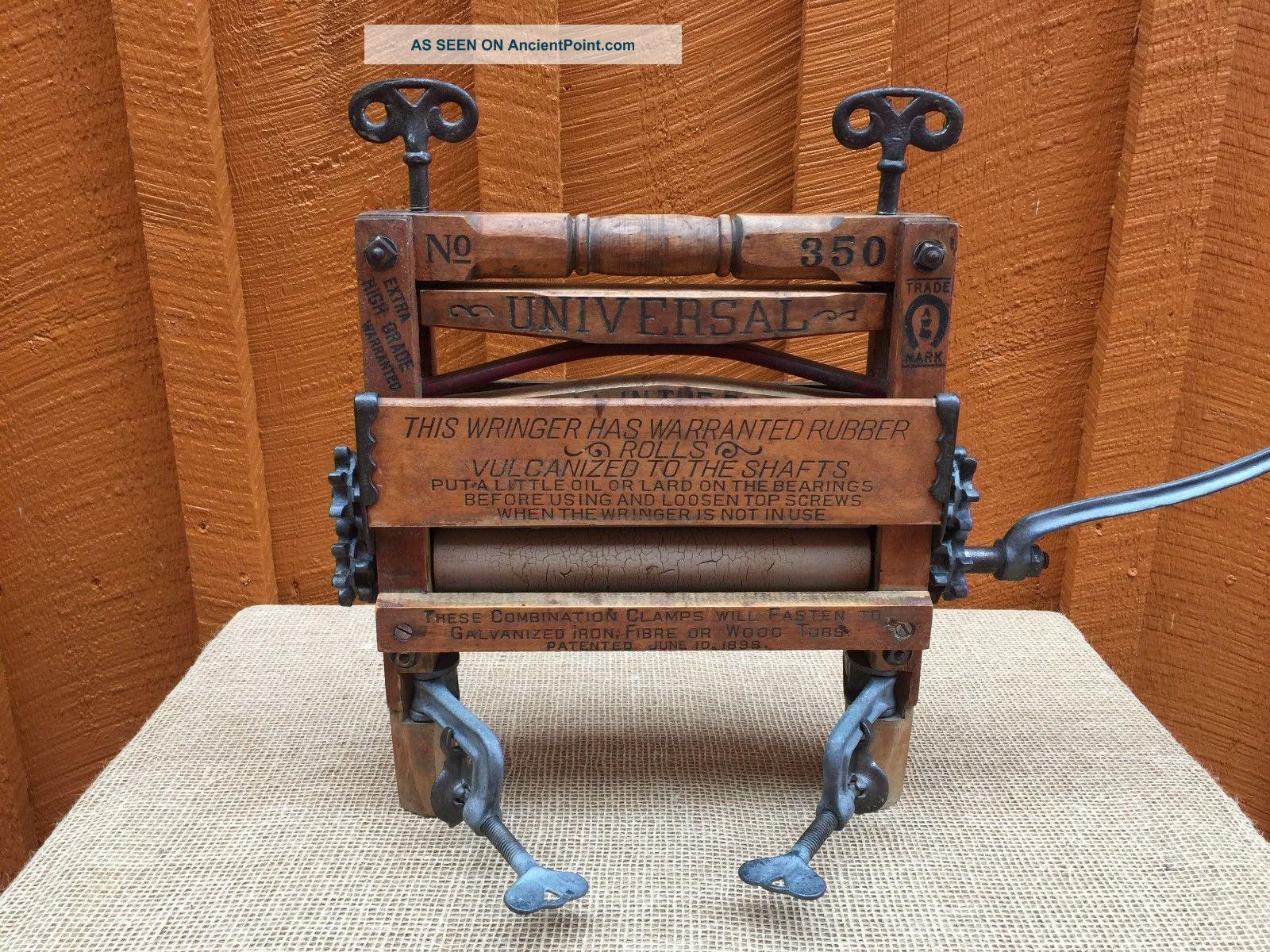 Primitive Wooden Universal Washer Wringer No.  350 Horseshoe Brand Clothing Wringers photo
