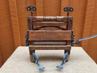 Primitive Wooden Universal Washer Wringer No.  350 Horseshoe Brand photo